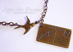 Send My Love Antique Brass Necklace. $35.00, via Etsy.
