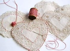 Embroidery On Paper Embroidered Paper Doilies: Oh my goodness how simple and cute. A little baker's twine goes a long way as embroidery on these doilies for an extra special touch! - Paper doily crafts for Valentine's Day Paper Doily Crafts, Doilies Crafts, Paper Doilies, Paper Crafting, Twine Crafts, Valentine Day Crafts, Valentine Decorations, Valentine Heart, Holiday Crafts