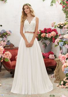 Two-Piece Crystal Beaded, Embroidered Bodice with Soft Net Skirt