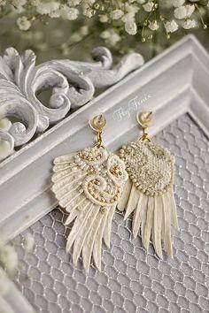 """Серьги """"Царевна лебедь"""". Свадебная коллекция. Серьги ручной работы для невесты / Handmade earrings for the bride"""
