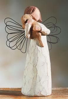 Show a friend how much you care for her with this Willow Tree Angel of Friendship figurine. This sweet Willow Tree angel gives her love to a sweet friend - the little puppy that she cradles in her arms. Symbolizing loyalty and unconditional love, this angel is the perfect gift for a special friend.