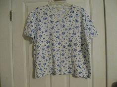 Woman's Knit Top Elisabeth Petite Liz Claiborne 2 100% Cotton Floral Blue White #LizClaiborne #KnitTop #Casual