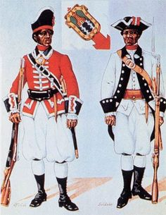 Free black militia of the Spanish colonial Army, circa 1770-1776. Mexican officer and a soldier from Cuba.As early as 1689, African slaves fled from British America to Spanish Florida seeking freedom. After 1693 they received liberty in exchange for defending the Spanish settlers at St. Augustine. The Spanish organized the blacks into a militia, and in 1738 they founded a settlement at Fort Mose outside St. Augustine, the first legally sanctioned free black town in North America.