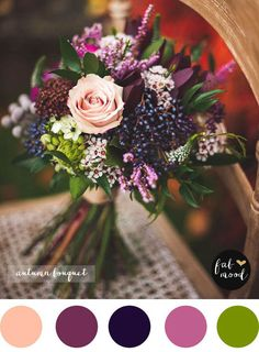 wiązanka ślubna z dzikim bzem i kwiatami jesieni