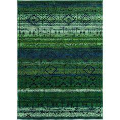 Oriental Weavers Contemporary Green Blue Polypropylene Abstract Machine-Woven Area Rug