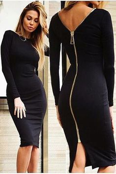 best=Sexy Long Sleeves Zipper Bodycon Midi Dress , Looking for that Perfect Prom Dress?Amazing styles & offers available! Mode Outfits, Dress Outfits, Sexy Dresses, Fashion Dresses, Midi Dresses, Trendy Dresses, Fashion Clothes, Girls Dresses, Fashion Jewelry