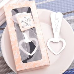 961fd2d8bf4ca Metal Love Heart Shaped Bottle Opener Wedding Favors gift Organza Ribbon