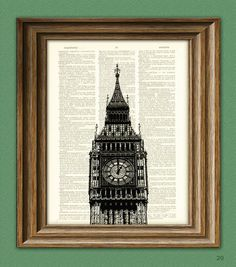 BIG BEN London clock tower beautifully upcycled dictionary page book art print via Etsy