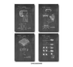 Bathroom Patent Print Set of 4 - Toilet Paper - Tooth Brush Patent Art Poster