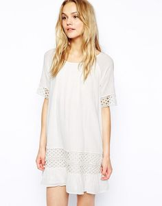 Vila | Vila Crochet Cheesecloth Dress at ASOS