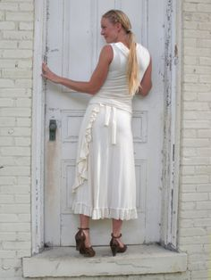 Love the ruffles on this wrap skirt.