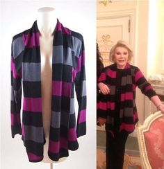 UP FOR AUCTION NOW!!! Iconic Celebrity JOAN RIVERS Personal Worn Wardrobe Striped Sweater w/COA and Photo of Joan Wearing Sweater. --- Via Frocknfrill.com
