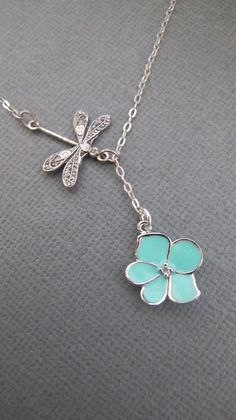 Dragonfly and Aqua Orchid Flower with CZ sterling silver lariat necklace. on Etsy, $26.00