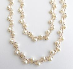 d5da34bd7b20 Beaded cream pearl and bronze crystal long necklace