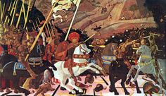 PAOLO UCCELLO, c. 1397 - 1475: The Battle of San Romano. Oil on panel, 183 x 319'5.