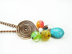 Cluster Spiral Long Pendant, Color Charm Turquoise Neklace, Colorful Copper Summer Jewelry Modern Gift for Teen and Women Jewellery