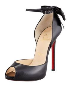 ShopStyle: Christian Louboutin Dos Noeud Back-Bow dOrsay Red Sole Pump,  Black