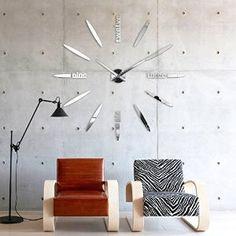 XXL3D Large Mirror Wall Clock DIY Ø 130cm XXL Frameless Wall Clock Modern 3D Wall Clock XII: Amazon.co.uk: Kitchen & Home