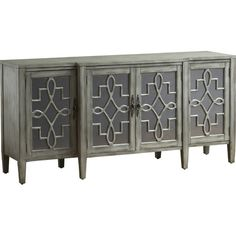 An eye-catching statement piece in your den or parlor, this elegant credenza features mirrored door fronts, scrolling fretwork overlay, and a hand-painted sa...