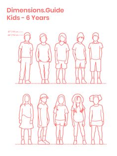 "Collection of assorted 6 year old boys and girls in front elevation with various casual standing postures and clothing used to understand the height of 6 year old children when designing spaces for kids. 6 year old children have average heights between 3'8""-3'11"" 