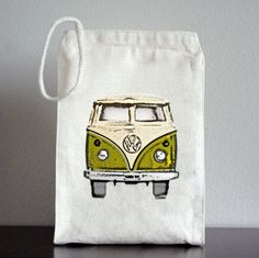 RECYCLED Lunch Bag - VW Bus Lime. $11.00, via Etsy.
