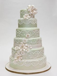 Mint Green Wedding cake with Lace