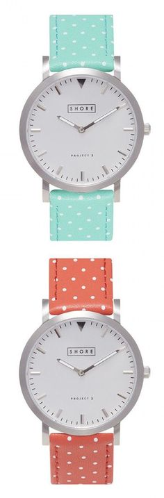 Cute Watches - Mint and Coral Polka Dot Watches! So cute :)