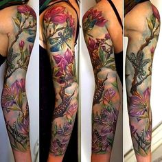 Tattoo Sleeve by Rom Azovsky #InkedMagazine #tattoo #tattoos #floral #sleeve #inked #ink #art
