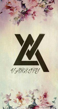 Varsity, kpop. J Pop, Varsity Kpop, Kpop Logos, Kdrama, Fan, Wallpaper, Wallpapers, Hand Fan
