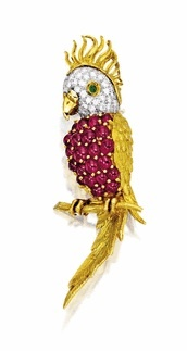 Ruby, Emerald and Diamond 'Parrot' Brooch