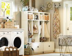 multifunctional shelving for laundry and entryway