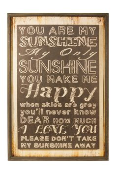 """You Are My Sunshine"" Wood Sign"
