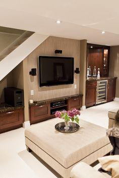 Basement Design_Storage under TV & wetbar (granite counter tops?)