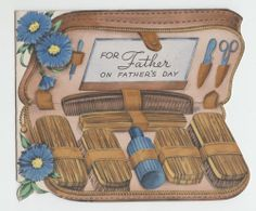 """Vintage Die Cut Shaving Kit """"For Father On Father's Day"""" Greeting Card"""