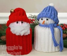 Simple Santa & Snowman TP Toppers Pattern PA934 by Maggie's Crochet, via Flickr