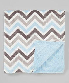 Look at this Lolly Gags 28'' x 32'' Baby Blue & Silver Chevron Minky Stroller Blanket on #zulily today!