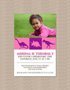 Pink Dinosaur Birthday Party Invitations by Honeyprint on Etsy, $15.00