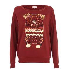 Dark red aztec pug dolman top - sweaters / hoodies - t shirts / vests / sweats - women