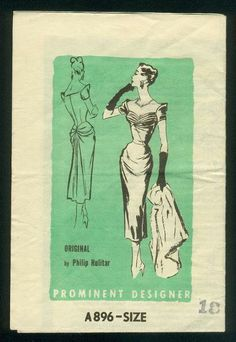 Prominent Designer Pattern A896 Original Design by Philip Hulitar circa 1953