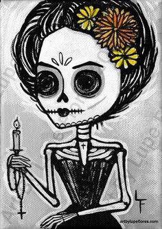 Light Of Death 5x7 art print Day of the Dead painting. $6.99, via Etsy.