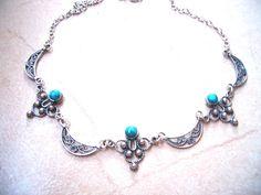 Filigree Eilat stones israeli silver necklace by Bluenoemi on Etsy, $119.00