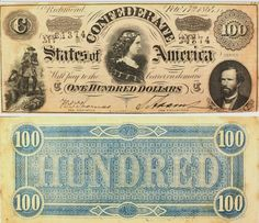 """Confederate $100.00 Note Confederate 100.00 bank notes were issued in 1864 and feature the portrait of Lucy Pickens, the wife of the South Carolina governor, along with portraits of George W. Randolph and two soldiers.  Dollar signs were never used on Confederate Currency, this note does feature a large """"C"""" though, which quite possibly led to our $100 bills being referred to as """"C Notes""""."""