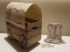 Covered Wagon using the new crate die and ruffled embossing folder 3d Craft, Craft Sale, Homemade Easter Baskets, Crate Ideas, Covered Wagon, Treat Holder, Wood Crates, Masculine Cards, Stamping Up