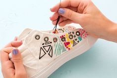Embroider White Canvas Sneakers – they probably wouldn't stay nice looking for very long but what a fun idea! Embroider White Canvas Sneakers – they probably wouldn't stay nice looking for very long but what a fun idea! Embroidery Art, Cross Stitch Embroidery, Embroidery Patterns, Embroidery Digitizing, Diy Embroidery Shoes, Embroidery Sneakers, Flower Embroidery, Machine Embroidery, Diy Embroidered Sneakers