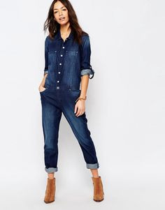 Shop Esprit All In One Denim Boiler Suit at ASOS. Classy Work Outfits, Sporty Outfits, Jean Outfits, Cool Outfits, Street Jeans, Jeans Overall, Denim Ideas, Boiler Suit, Denim Jumpsuit