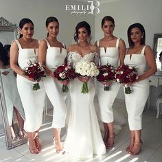 White, Bodycon Midi Dresses for Bridesmaids
