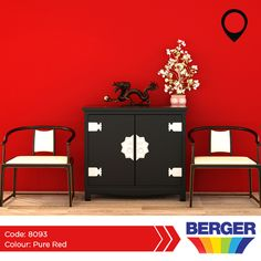 Red raises a room's energy level. The most intense colour, it pumps the adrenaline like no other hue. It is a good choice when you want to stir up excitement. #BergerCaribbean #RedWalls #RedInspiration