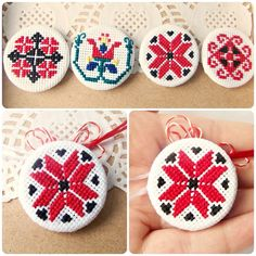 Brooch with romanian traditional cross stitch Creative Embroidery, Folk Embroidery, Embroidery Patterns, Sewing Patterns, Cross Stitch Designs, Cross Stitch Patterns, Blackwork, International Craft, Pressed Flower Art