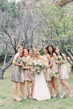 neutral bridesmaid dresses in different styles | photo: Jessica Lorren
