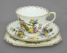 Aynsley china cup, saucer, plate trio Pagoda see desccription 1920s FREE post UK